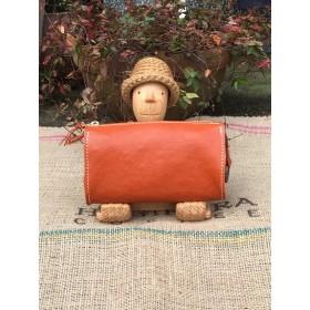 ジャバラの長財布/オレンジの大きな革の長財布/LV-orange