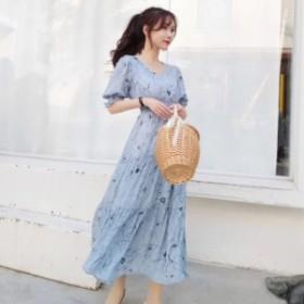 エレガントなフラワー柄が大人っぽい!シャーリングウエストでスタイル良く見える 上品ワンピースドレス(4色展開)