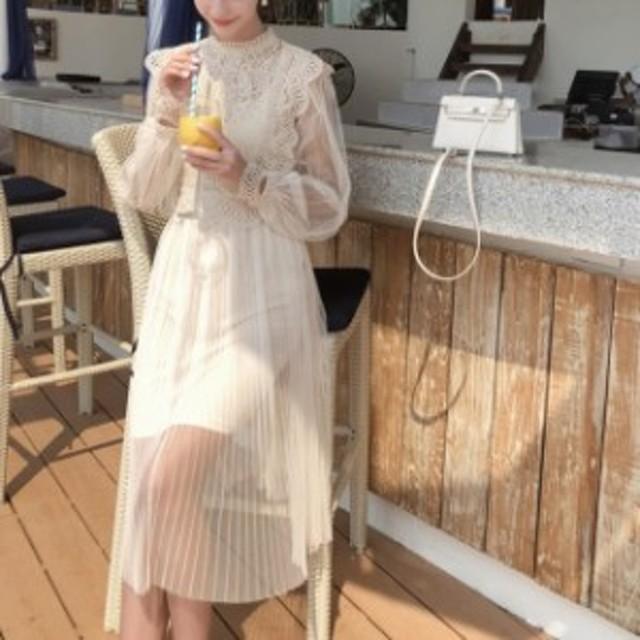 春服 レディース ロングワンピース レースベスト シースルーワンピース プリーツスカート 透け感 長袖 上品 シフォン素材