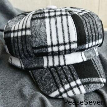 おしゃれ帽子キャスケットグレンチェックカジュアルあったか起毛ふわふわ大人かわいい秋冬秋冬ゆったりおしゃれ小物可愛いブラック黒