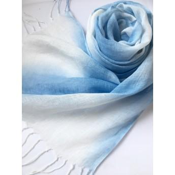 ☆限定*藍色×白色*リネンショール
