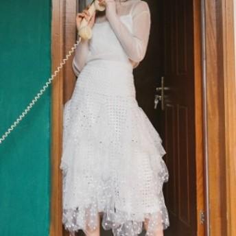 春服 セットアップ レディース 春 ホワイトブラウス&ロングスカート チュールスカート 長袖 白 透け感 ミモレ丈 大人可愛い セット服