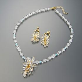 水晶 葡萄ネックレス&イヤリング/ピアスセット