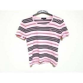 【中古】 バーバリーロンドン 半袖Tシャツ サイズL レディース ピンク 黒 レッド ボーダー