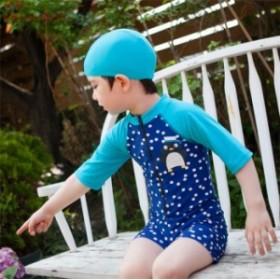 水着子供 男の子水着 息子 可愛いペンギン パンツ水着 砂浜 オールインワン キッズ 夏休み 5分袖