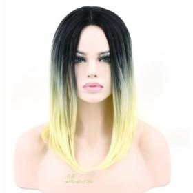 Sooweeショート人工毛黒へブロンドオンブルグレー髪パーティーかつら女性ボブストレートヘアコスプレかつらヘアピース