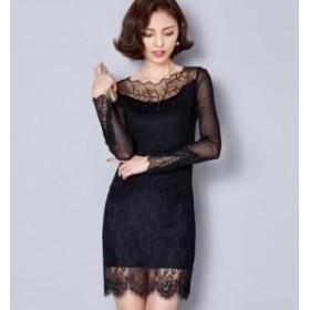 刺繍レースワンピース ドレス 大きいサイズ ミニ丈 メール便 送料無料 プレゼント 秋冬