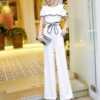 パンツドレス オールインワン ドレス ワイドパンツ レディース 通勤服 デート服 結婚式 お呼ばれ ドレス 30代 40代 黒 白