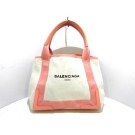 【中古】 バレンシアガ BALENCIAGA トートバッグ 美品 ネイビーカバS 339933 アイボリー ピンク 黒