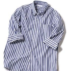[マルイ] SHIPS JET BLUE: COOLMAX チェックストライプ レギュラーカラー7分袖シャツ/シップス ジェットブルー(SHIPS JET BLUE)