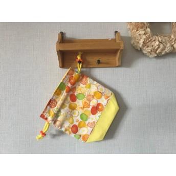 入園入学準備に…お花とちょうちょ 黄色の コップ袋 巾着袋 ブルー