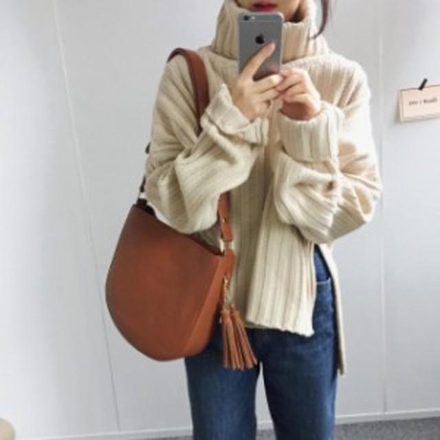 ゆる感 タートルネック 秋冬 ざっくり アシメントリー カジュアル 長袖 暖か ニット おでかけ ショート丈 セーター