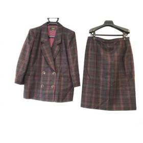【中古】 レリアン Leilian スカートスーツ サイズ13+ S レディース パープル グリーン ダークネイビー
