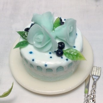 ☆ミニチュア ブルーローズケーキ☆