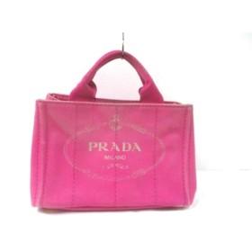 【中古】 プラダ PRADA トートバッグ CANAPA B2439G ピンク キャンバス