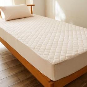 綿混ワッフル素材の速乾・抗菌・防臭ボックスシーツ型敷きパッド 「ベージュ」