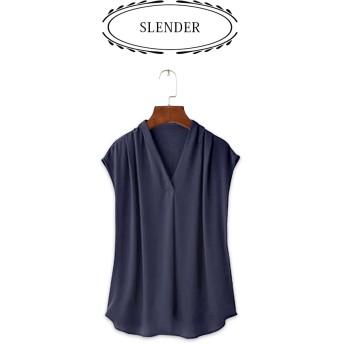 ブラウス - SLENDER シャツブラウス 胸元タック 美フォルムゆるシャツ 通勤 オフィス レディース ノースリーブ 上品 トレンドシフォンジョーゼット春夏Vネックシンプル スレンダ SLENDER b599