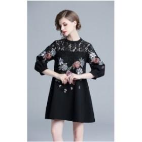 レース ドレスワンピ 秋 大人可愛い 七分袖 ショート丈 ドレス ラウンドネック 花刺繍