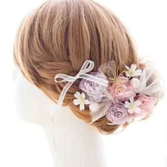 ヘッドドレス・髪飾り パープル・ピンク・ラメ・パール・蝶々 結婚式・成人式・卒業式・ウェディング・ブライダル ヘアパーツ
