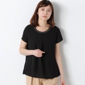 シャツ ブラウス レディース 襟ぐりパールプルオーバー 「ブラック」