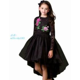 女 子パーティードレス王女 衣装 2017 ブランド子供ドレス服 ために花 刺繍子供黒 レース ドレス Vestido