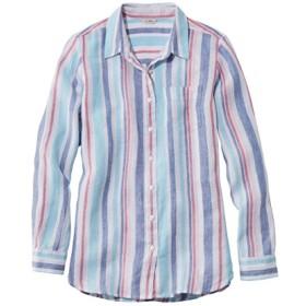 プレミアム・ウォッシャブル・リネン・シャツ、チュニック マイクロストライプ/Premium Washable Linen Shirt Tunic Microstripe