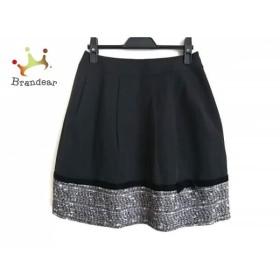 エムズグレイシー スカート サイズ38 M レディース 美品 黒×ダークブラウン×白 リボン 新着 20191012