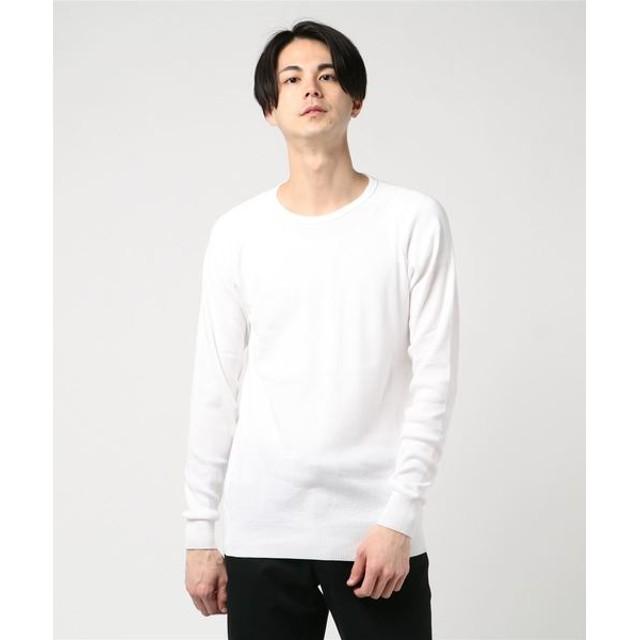 ESTNATION / フライスクルーネックニットソー ホワイト/SMALL(エストネーション)◆メンズ Tシャツ/カットソー