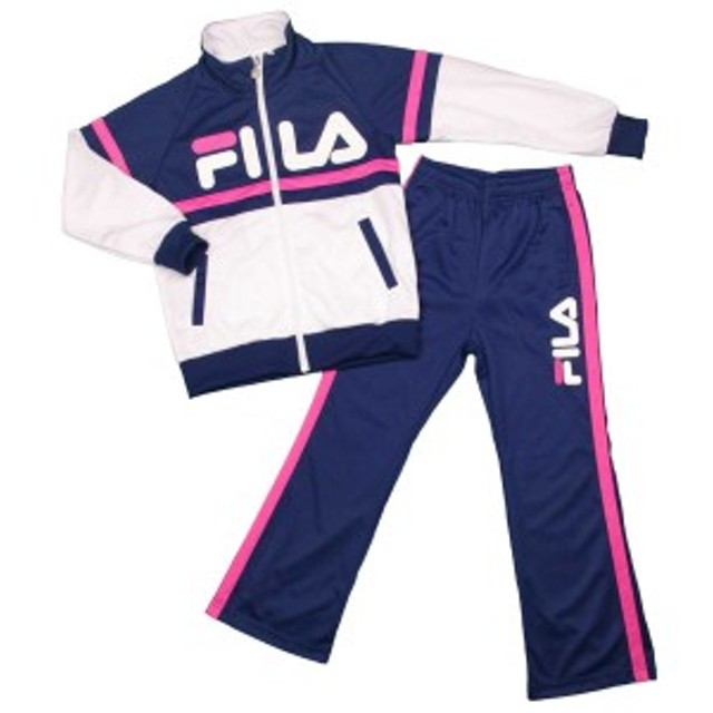 22a0f2bb50250 FILA(フィラ)女の子 ジュニア ジャージ上下セット トレーニングウエア スーツ 女児 子供用 ネイビー