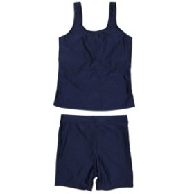 女の子 ジュニア セパレート水着 スクール水着 UV のびるゼッケン付き 紺無地 ゆったりサイズ ネイビー 150Ecm