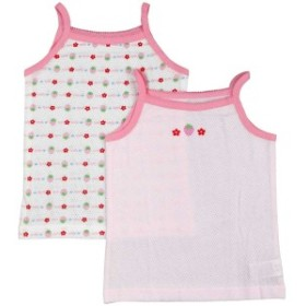 ベビー 肌着 キャミソール シャツ2枚組 苺 イチゴ柄 ベビー肌着 柄違いシャツ2枚組 ホワイト-ピンク 80cm/90cm/95cm