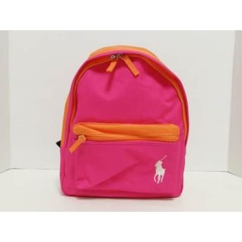 【中古】 ポロラルフローレン リュックサック 美品 ビッグポニー ピンク オレンジ ナイロン