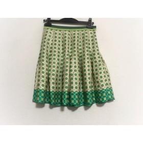 【中古】 アナスイ ANNA SUI スカート サイズ2 S レディース 白 グリーン イエロー
