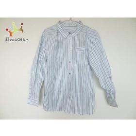 レリアン Leilian 長袖シャツ サイズ9 メンズ 白×ライトブルー×ライトグリーン ストライプ   スペシャル特価 20190717