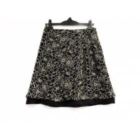 【中古】 ギャラリービスコンティ ミニスカート サイズ2 M レディース 黒 ベージュ フラワー/刺繍