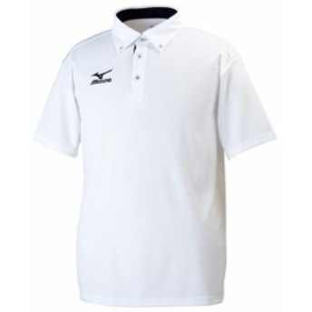 ドライサイエンス/ポロシャツ(ボタンダウン)(01ホワイト×ディープネイビー)【MIZUNO】ミズノトレーニングウエア ミズノクロスティッ