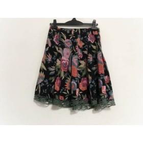 【中古】 アナスイ ANNA SUI スカート サイズ4 S レディース 黒 マルチ 花柄/シルク