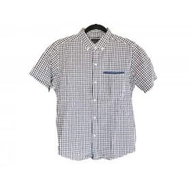 【中古】 ザ ショップ ティーケー 半袖シャツ サイズ2 M メンズ 白 ダークネイビー イエロー チェック柄