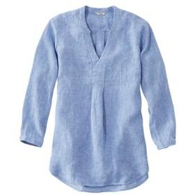 プレミアム・ウォッシャブル・リネン・シャツ、ロング・チュニック/Premium Washable Linen Shirt Splitneck Tunic Long-Sleeve