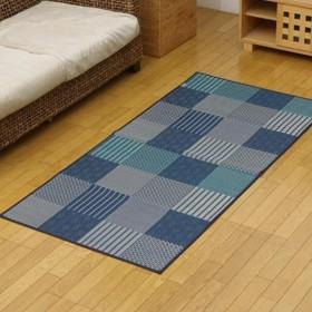 純国産 い草花ござカーペット ラグ 『京刺子』 ブルー 江戸間1畳(約87×174cm) 4110101