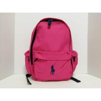 【中古】 ポロラルフローレン POLObyRalphLauren リュックサック 美品 ピンク ネイビー ナイロン