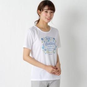 ランニング トレーニングウェア お手ごろ価格☆レディース フラワープリントTシャツ 「オフホワイト」