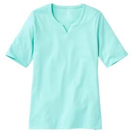 ピマ・コットン・ティ、ひじ丈袖 ノッチ・ネック・チュニック/Pima Cotton Tee Notch-Neck Elbow-Sleeve Tunic