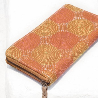 母の日バレンタインの日ギフト新年の贈り物国の風の森クリスマスプレゼント手刺繍の財布手縫いのサリーの布財布シルク刺繍ロングクリップ