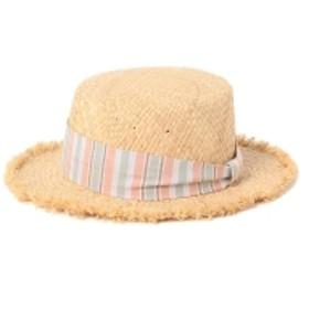 BEAMS mini / ラフィア フリンジ カンカン帽 キッズ ハット マルチストライプ ONE SIZE