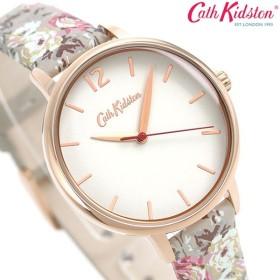 キャスキッドソン Cath Kidston 時計 花柄 レディース 腕時計 CKL067ERG 革ベルト ホワイト×グレー