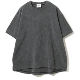 THING FABRICS / ジャカード パイル クルーネック Tシャツ メンズ Tシャツ BLACK/GREY 0