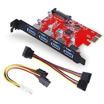 4ポートUSB3.0増設ボード UASP対応 補助電源需要 PCIex1 Rev.2用インターフェースカード KT4001