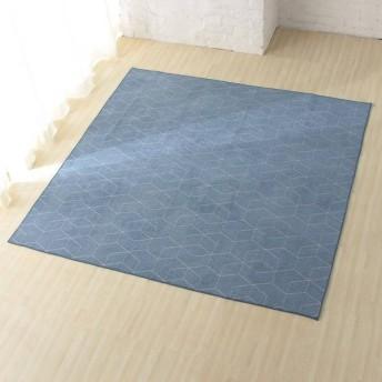 シェニール織ジャカードフロアラグ 3畳相当 ブルー ホームコーディ 3畳相当