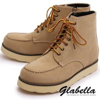 シークレットブーツ レースアップ サイドジップ 身長アップ メンズ ワークブーツ 靴 くつ シューズ(ベージュ) glbb055